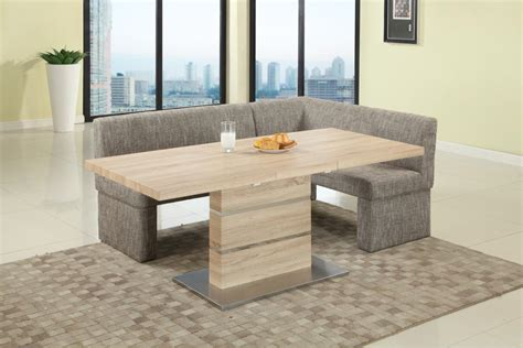 extendable  wood fabric seats dinner table  nook mesa