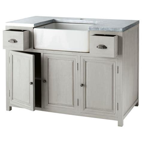 meuble de cuisine 120 cm meuble bas de cuisine avec évier en bois d 39 acacia gris l 120 cm zinc maisons du monde