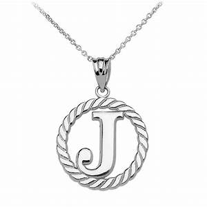 gold diamond silver jewellery rope circle letter j With circle letter pendant