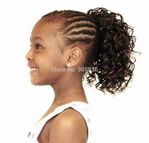 Beautiful sleek dark golden brown afro curly KIDS ponytail ...