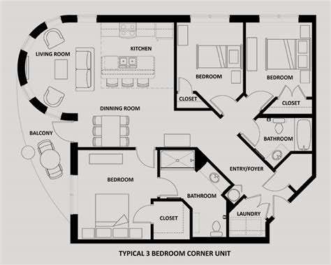 3 Bedroom Apartment Floor Plans by Downtown Ta Apartment Floor Plans The Tempo At Encore