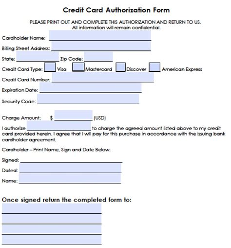 credit card form generic credit card authorization forms wikidownload