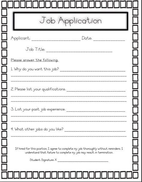 Classroom Job Application On Pinterest  Art Classroom