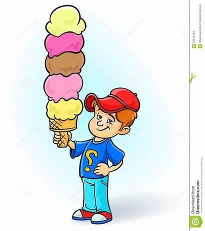 Ice Cream Eating Clipart Boy Cartoon Kid