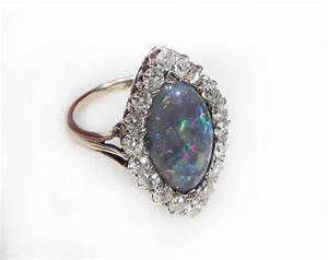 antique engagement ring opal and diamond 5ct black opal With antique opal wedding rings