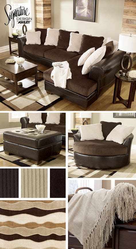 sectionals living room furniture brown  cream white