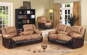 Fabric reclining sofa sets doulbe recliner with console for Sofa bed and recliner set