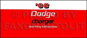 1968 Charger  U0026 R  T Wiring Diagram Manual Reprint