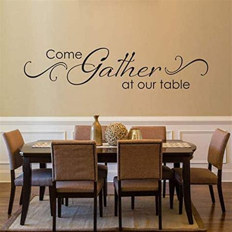 A busy room like this deserves some extra attention, so dress up your space with a beautiful dining room decor scheme that reflects your inner style. Amazon.com: Come Gather at our Table Decal with Scroll design - Dining Room Wall Art - Kitchen ...