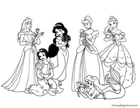 disney princesses  coloring page coloring page central