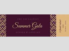 Maroon Gold Elegant Gala Dinner Fundraiser Ticket