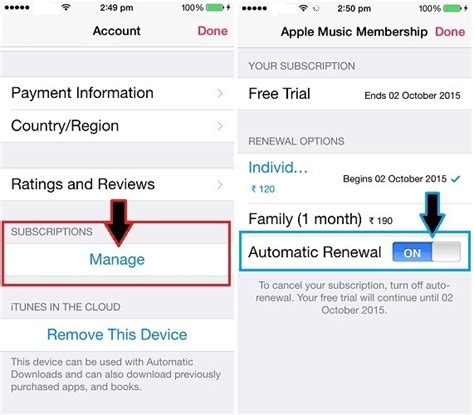 how do i stop or disable apple auto renewal on