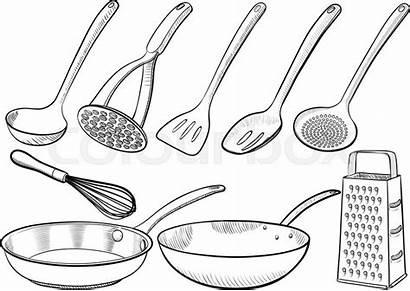 Kitchen Equipment Drawn Utensil Ladle Illustrations Vektor