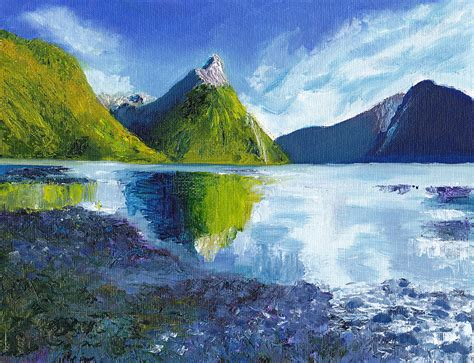 Mitre Peak On Milford Sound In New Zealand Painting By Dai