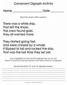 Digraph Sh Wh Th Ch Poem Activity Digraph