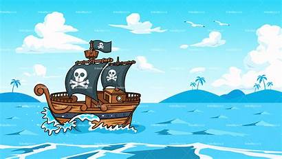 Pirate Ship Background Ocean Sailing Cartoon Clipart