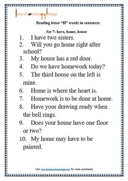 Letter Sentences by Kindergarten Reading Practice For Letter Quot H Quot Words In