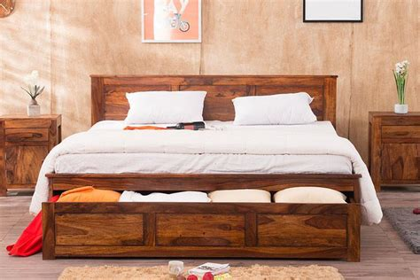 buy solid wood essential bed  front open dual storage