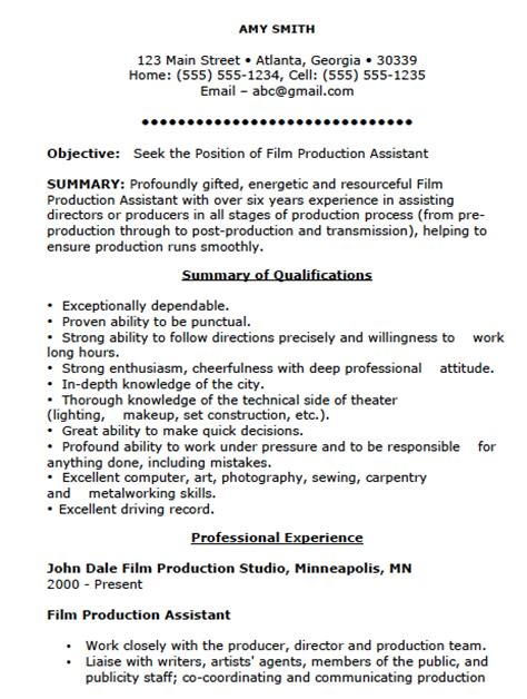 Assistant Resume Template by Production Assistant Resume Template Resume Templates