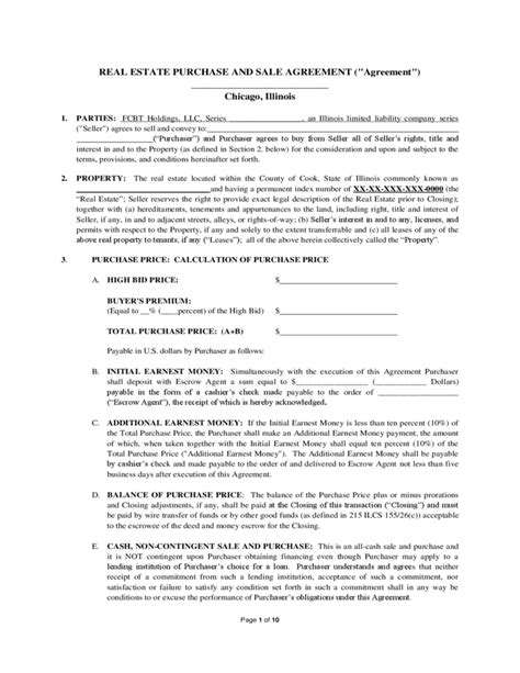 Real Estate Purchase And Sale Agreement  Illinois Free