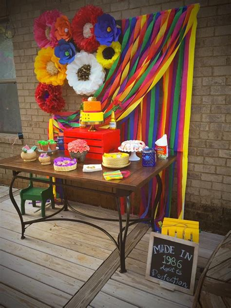 mexican themed tablescape flower colorful backdrop
