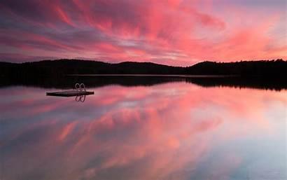 Pink Lake Sky Reflection Nature Lakes Wallpapers