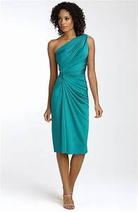 This teal one-shoulder bridesmaids dress that cinches at ...