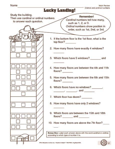 math worksheet ordinal and cardinal numbers ordinal