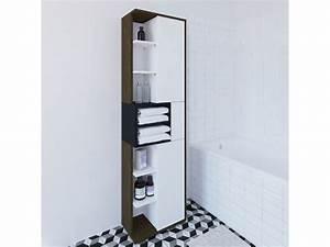 Meuble Salle De Bain Colonne : colonne de salle de bain design l50cm kube noyer ~ Teatrodelosmanantiales.com Idées de Décoration