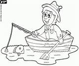 Fishing Coloring Rowboat Recreational Pages Fisherman Oncoloring sketch template