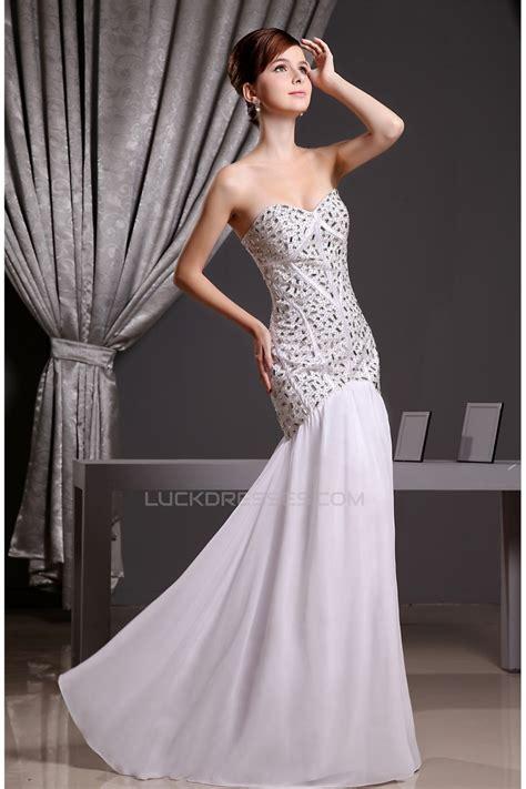 Mermaid/Trumpet Beading Chiffon Long White Prom/Formal ...