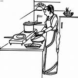 Cooking Coloring Clip Clipart Housewife Cliparts Cook Indian Activity Pages раскраски Colouring Woman Beautician Library картинки дарт раскрашивания вейдер для sketch template