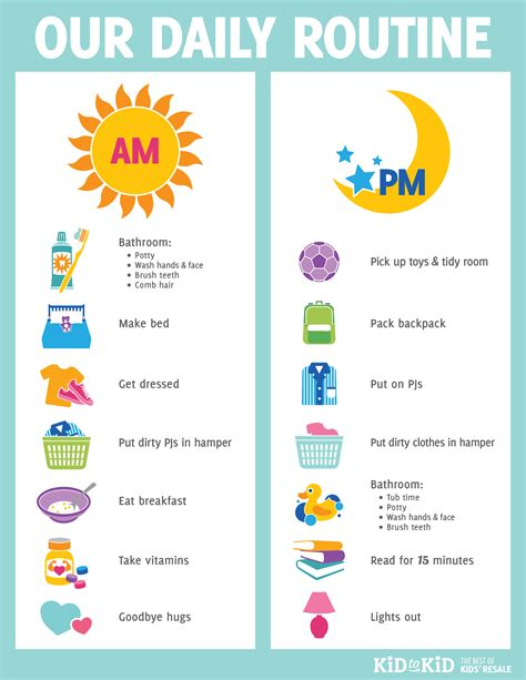 printable daily routine chart kid to kid 832 | Our Routine