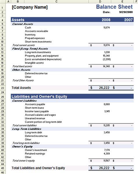 sample balance sheet template  excel