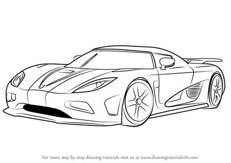 koenigsegg car drawing learn how to draw koenigsegg agera r sports cars step by