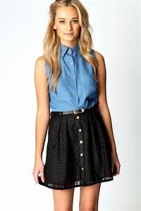 Denise Crochet Embroidered Skater Skirt - black black Online Shopping Womenu0026#39;s Fashion Menu0026#39;s ...