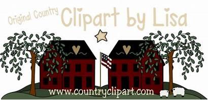 Clip Country Clipart Recipe Cards Primitive Cabin