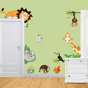 jungle wild animals vinyl wall decal sticker for kids baby With kids wall decals