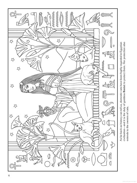 Goddess coloring page - Bastet (Egypt)   Adult coloring