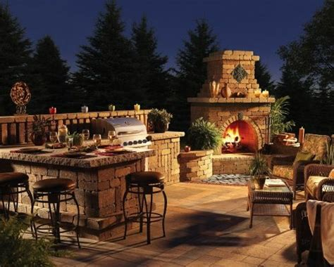 Beautiful Outdoor Fireplace Patio Design Hardscape From