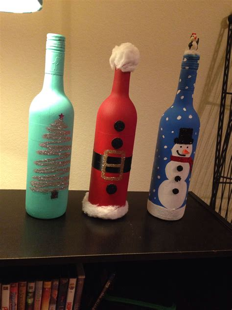 christmas wine bottle decor crafty pinterest