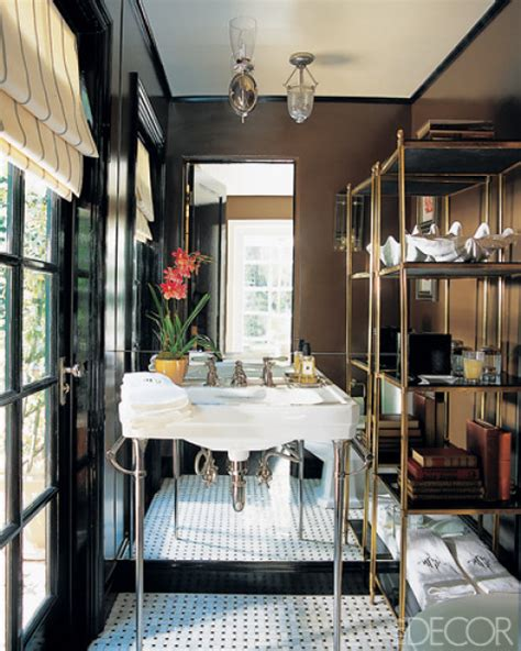 brass etagere contemporary bathroom elle decor