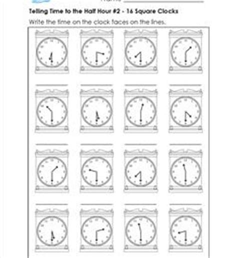 telling time to the half hour worksheets for first grade