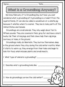 february reading comprehension passages   classroom