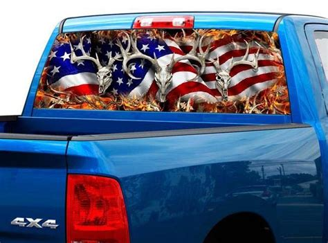 p american flag deer rear window tint graphic decal