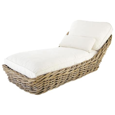chaise hello garden chaise longue in rattan with ivory cushions st