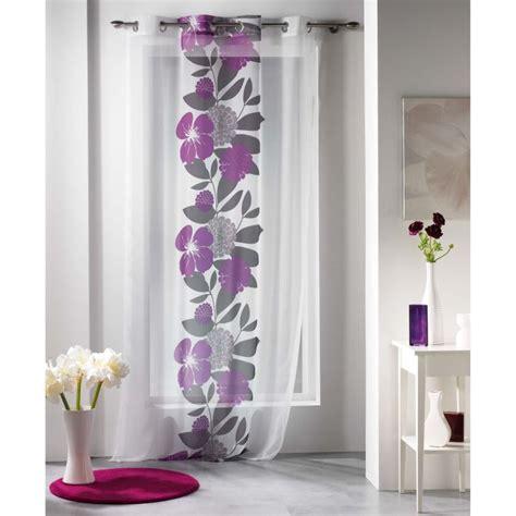 rideau cuisine gris voilage à oeillets tropical imprimé coloris prune achat