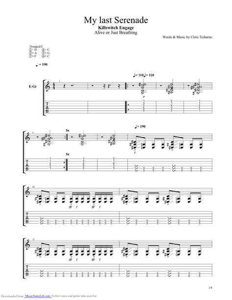 My Last Serenade Guitar Pro Tab By Killswitch Engage