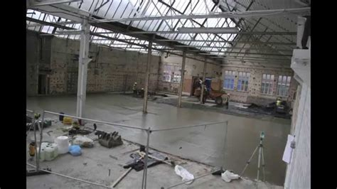 large concrete floor slab pour laser scredding   YouTube
