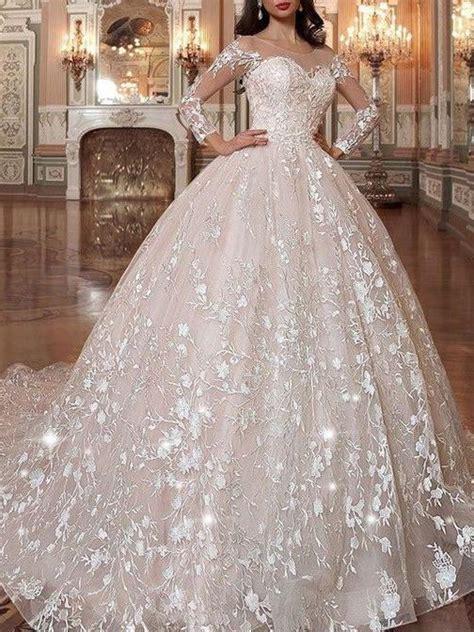 long sleeve vintage wedding dresses lace applique princess